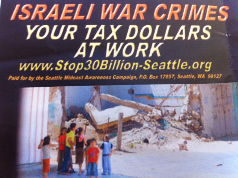 This is the ad the Seattle Mideast Awareness Campaign was set to place on Metro buses in  December, 2010.  King County  decided not to allow the ad and is now the target of a lawsuit.