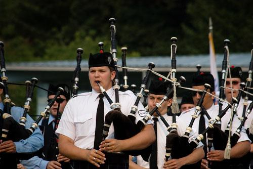 Alexander Schiele leads the Northwest Junior Pipe Band at the Pacific NW Highland Games in 2009