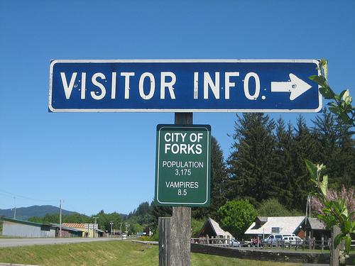 Tourism sign at the vampire-infested town of Forks, May 29, 2009