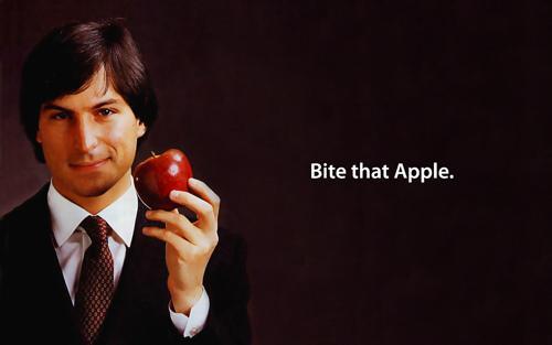 Desktop wallpaper of a young Steve Jobs