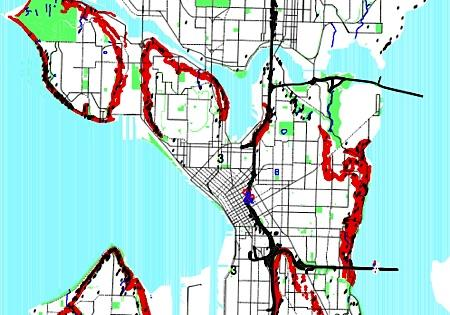 A portion of a map showing landslide-prone areas in the city of Seattle.