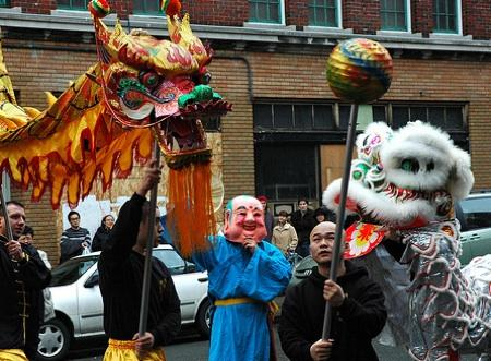 In the Chinese zodiac, 2011 is the 'Year of the Rabbit.' This photo from last year's celebration shows the Lion and Dragon Dance along King Street in Seattle's International District.