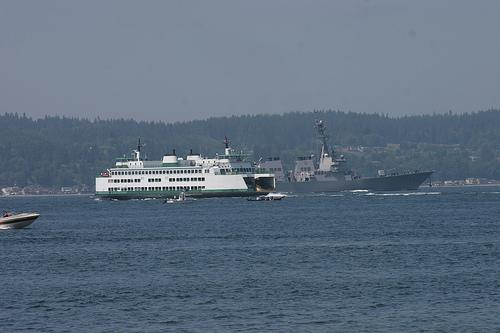 Ferry sharing the waterway with Navy and civilian vessels on the Mukilteo-Clinton run, July 26, 2007.