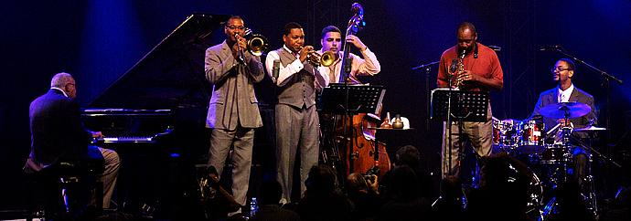 The Marsalis Family Band, from left, Ellis Marsalis, Delfeayo Marsalis, Wynton Marsalis, Carlos Henriquez, Branford Marsalis and Jason Marsalis.