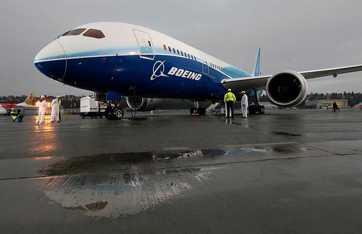 The 787 Dreamliner, after a test flight in Dec. 2009. Boeing is hinting it might make the 787 production line in Everett permanent.