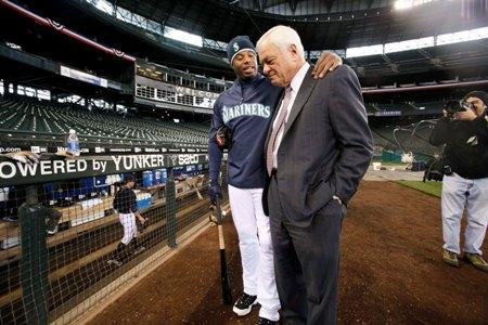 Ken Griffey Jr. puts his arm around Mariners team president Chuck Armstrong before a baseball workout in 2009 at Safeco Field. Their close relationship came under scrutiny last year, following Griffey's abrupt retirement from baseball.