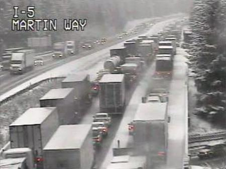 The backup at 9:20 a.m. today on I-5 in the Olympia area has worsened as snow and freezing fog plague drivers.