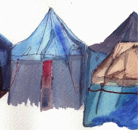 A watercolor from Mimi Allen's 'Song of Tent City' blog, a poet's experience in the Seattle homeless camp.