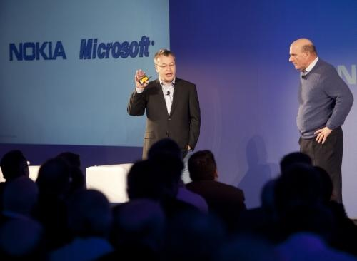 Nokia CEO Stephen Elop and Microsoft CEO Steve Ballmer in London 2/11/2011