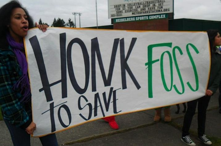 Students from Tacoma's Foss High at a recent rally to keep the school open. Last night Superintendent Art Jarvis announced he'll look at other cost-saving options to close a budget gap, rather than temporarily closing the school.