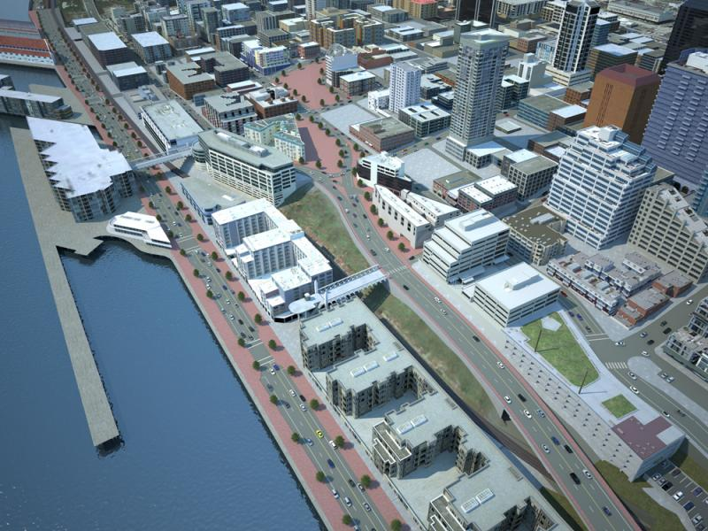 Early concept of proposed Alaskan Way and the connection to Elliott Avenue and Western Avenue.