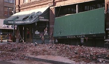 Brick facades collapsed in Seattle's Pioneer Square during the 2001 Nisqually earthquake.