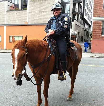 Seattle Police Mounted Patrol Sgt. Grant Ballingham in Belltown in September, 2010.