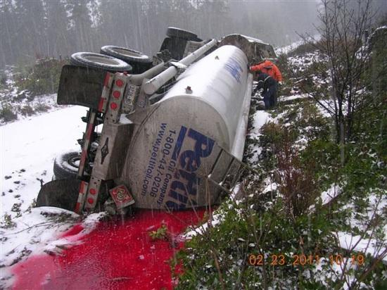 This image was captured by a WSDOT worker at the site of a tanker fuel spill near the Olympic Peninsula town of Forks on Wednesday. Clean up continues there.