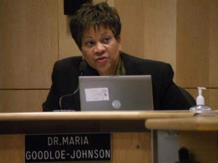 Seattle Schools Superintendent Maria Goodloe-Johnson is seen here at a board meeting at district headquarters in 2010.