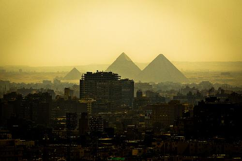 Cairo skyline, including the pyramids at Giza 9/2/2010