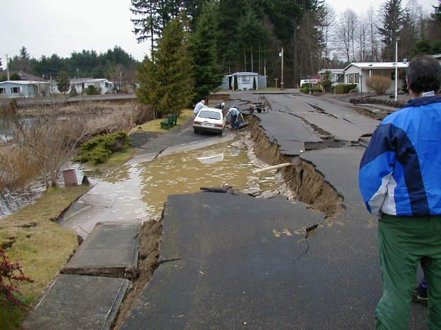 Road failure at Sunset Lake, Tumwater