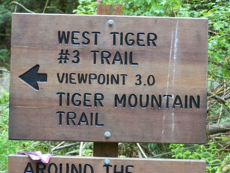 A trail sign at Tiger Mountain in east King County. The recreational area is managed by the Washington State Department of Natural Resources.