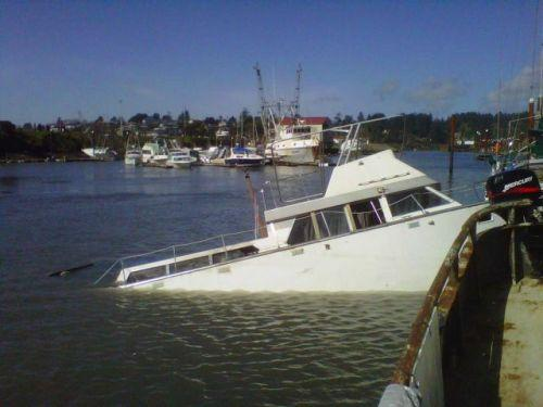 A boat damaged by the tsunami at Brookings Harbor