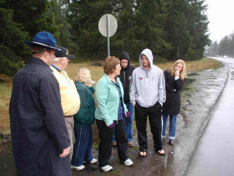 Cpl. Roger Scherf Jr.'s family visit the scene of his fatal car accident near Joint Base Lewis-Mcchord.
