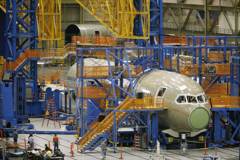 Airplane manufacturing at Boeing's Everett plant, in 2010.