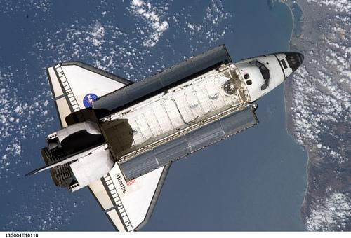 Space shuttle Atlantis in orbit over San Diego  10/30/05