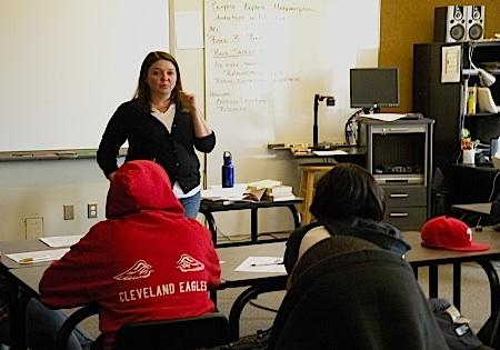 "Hundreds of public school teachers in Washington are working toward their National Board certification, a highly rigorous program. Some, like Seattle School teacher Drea Jermann, pictured in 2009, teach in schools termed ""challenged."""
