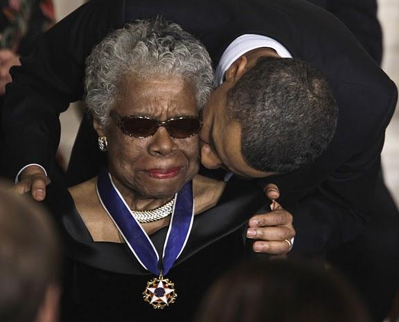 Dr. Maya Angelou receives the nation's highest civilian honor, the Medal of Freedom, from President Barack Obama, Feb. 15, 2011, in Washington, D.C.