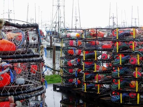 Crab pots on the docks at Newport, Oregon