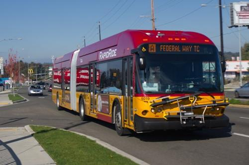 "A RapidRide bus running the ""A"" Line on Pacific Highway South."