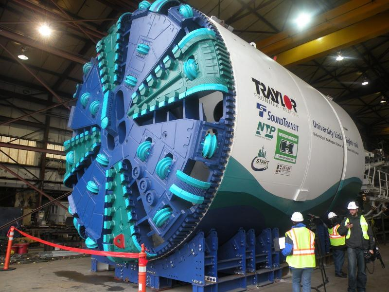 This tunnel boring machine, under assembly in Tacoma, will dig Sound Transit's tunnel through Capitol Hill in Seattle.