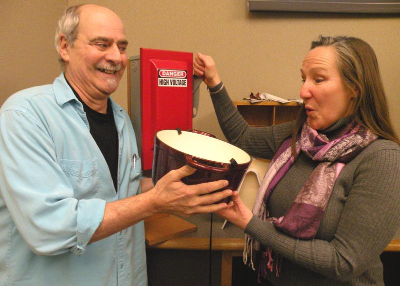 Dick Stein presents prize to Tina Koch (pulling-the Big Red Switch). Cick on photo and scroll to see her winning entry.