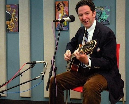 John Pizzarelli having a ball along with his audience at the KPLU studios.