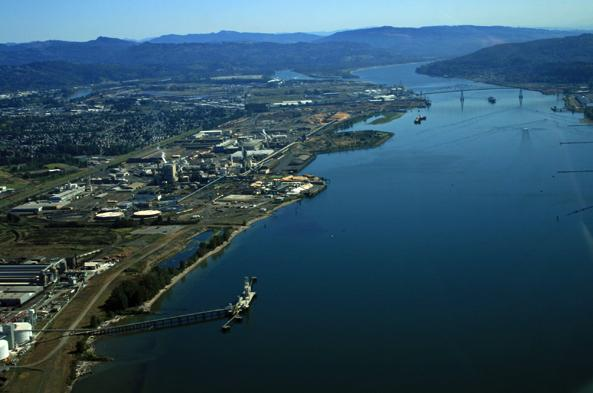 Proposed Millennium Bulk Terminals site is shown on the lower left along the Columbia River.