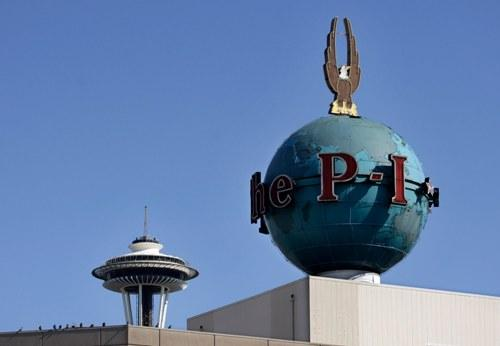 The Seattle PI globe, a 63 year-old landmark on Seattle's skyline.