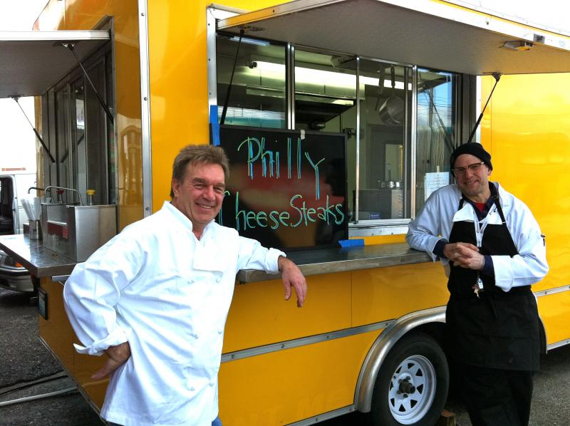 The cheese steak guys.  John Schofield (L) and Frank Bucci.