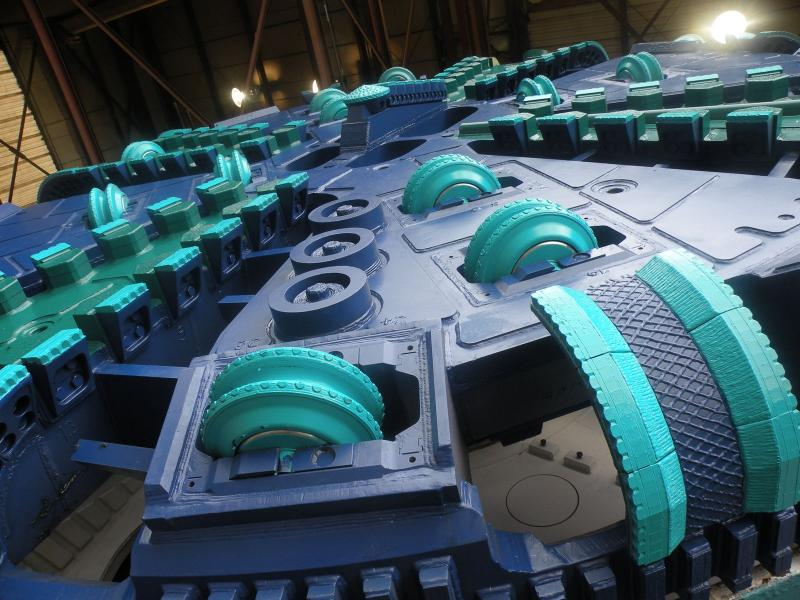 The cutting face of Sound Transit's tunnel boring machine.