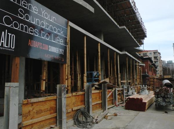 Developers broke ground on the Alto Apartments in Seattle's Belltown neighborhood in November 2010. It's part of a rush to build more rental units in the city.
