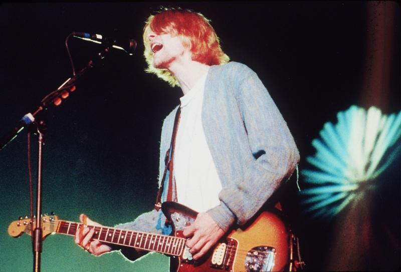 Kurt Cobain, performing with Nirvana, in concert in 1993, at the Cow Palace in Daly City, California