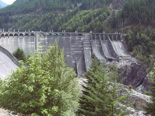 Seattle City Light's Diablo Dam on the Skagit River.  7/22/2001