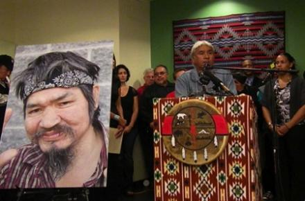 Tribal members gather at the Chief Seattle Club in Pioneer Square last September to call for accountability in the police shooting death of native carver John T. Williams.