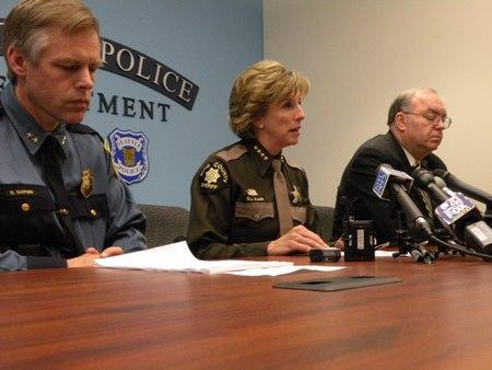 Seattle Asst. Police Chief Mike Sanford, King Co. Sheriff Sue Rahr and Joe Hawe, Exec. Dir. Wa. State Criminal Justice Training Commission announce plans to teach cops better communication skills.