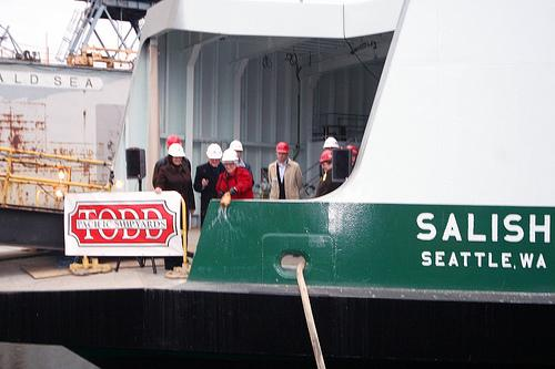 State Senate Transportation committee chair Sen. Mary Margaret Haugen, D-Camano Island, christens the MV Salish at Todd Shipyards on Jan. 4, 2011.