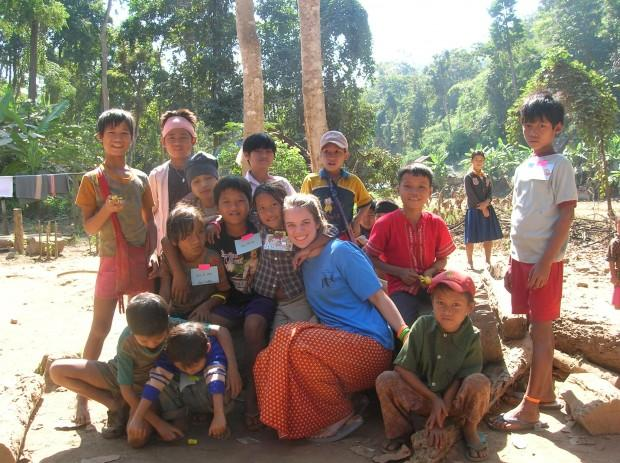Sarah Dawson is a University of Washington senior majoring in public health and Spanish. She's pictured here working with children at a Burmese eye clinic.