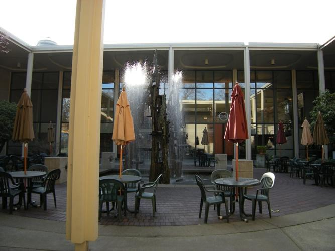 The courtyard of the Intiman Theater at Seattle Center. The theater announced on Saturday that it is cancelling the rest of the 2011 season and laying off all 20 of its employees.