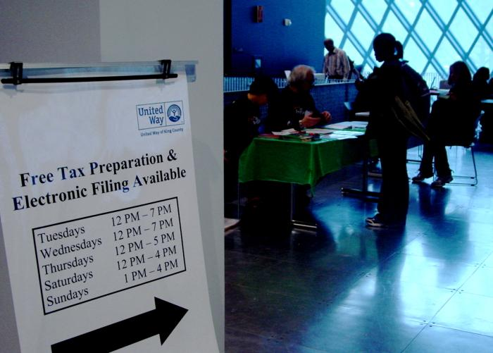 United Way of King County helps low-income taxpayers file federal returns at locations such as the Seattle Public Library. The IRS extended the deadline to April 18th this year.