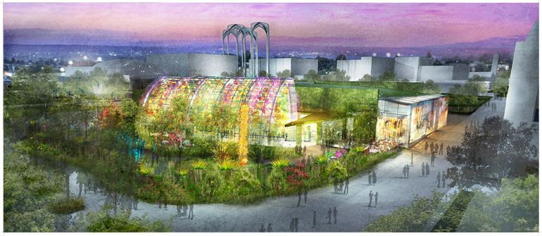 Rendering of the Chihuly art-glass gallery planned for Seattle Center. The exhibit was given the green light by the Seattle City Council Tuesday night.