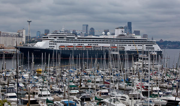 "The Holland America cruise ship ""Amsterdam"" in Seattle's Elliot Bay."