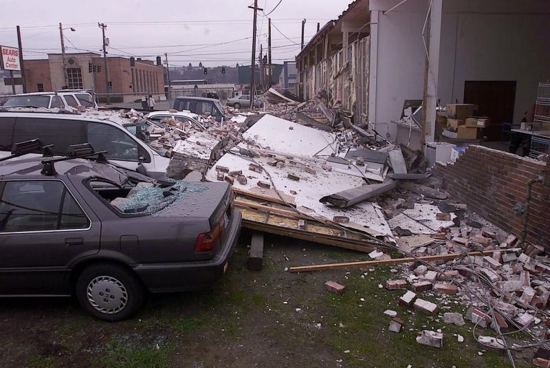 Damage in Seattle from the Nisqually Quake, Feb. 28, 2001. Could earthquake early-warning systems become common place on the U.S. West Coast?