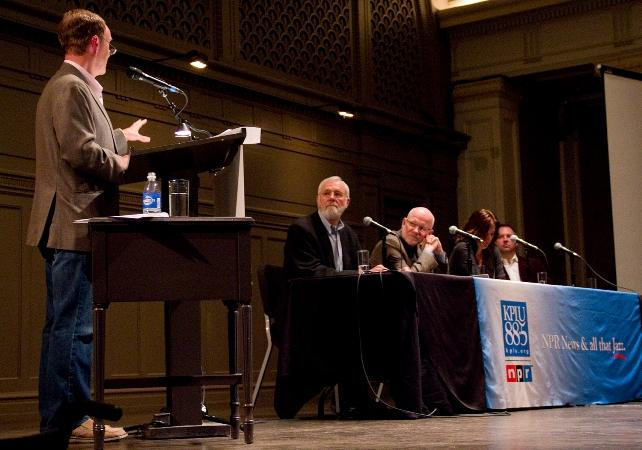 Left to right: KPLU/Humanosphere's Tom Paulson, William Foege (the man who figured out how to rid the world of smallpox), Chris Elias (president at PATH), Wendy Johnson (UW health activist) and Joe Whinney (Theo Chocolate founder)
